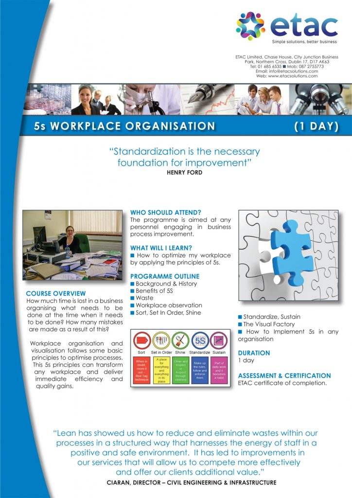 5S Workplace Organisation Brochure, 5S Workplace Organization
